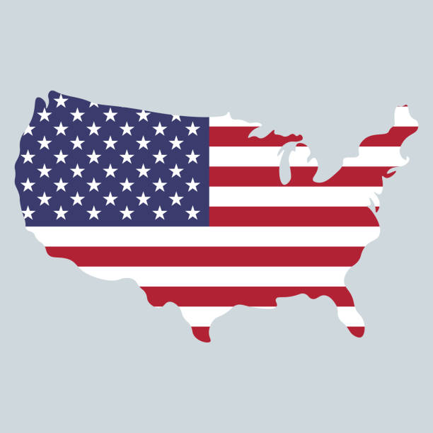 united states of america map and flag design 4th of july - us flag stock illustrations