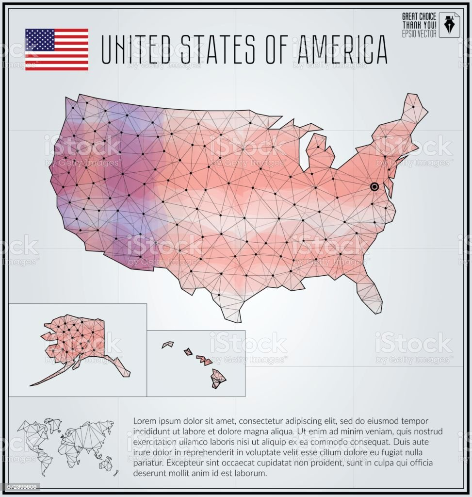 United States Of America Map In Geometric Polygonal Style ...