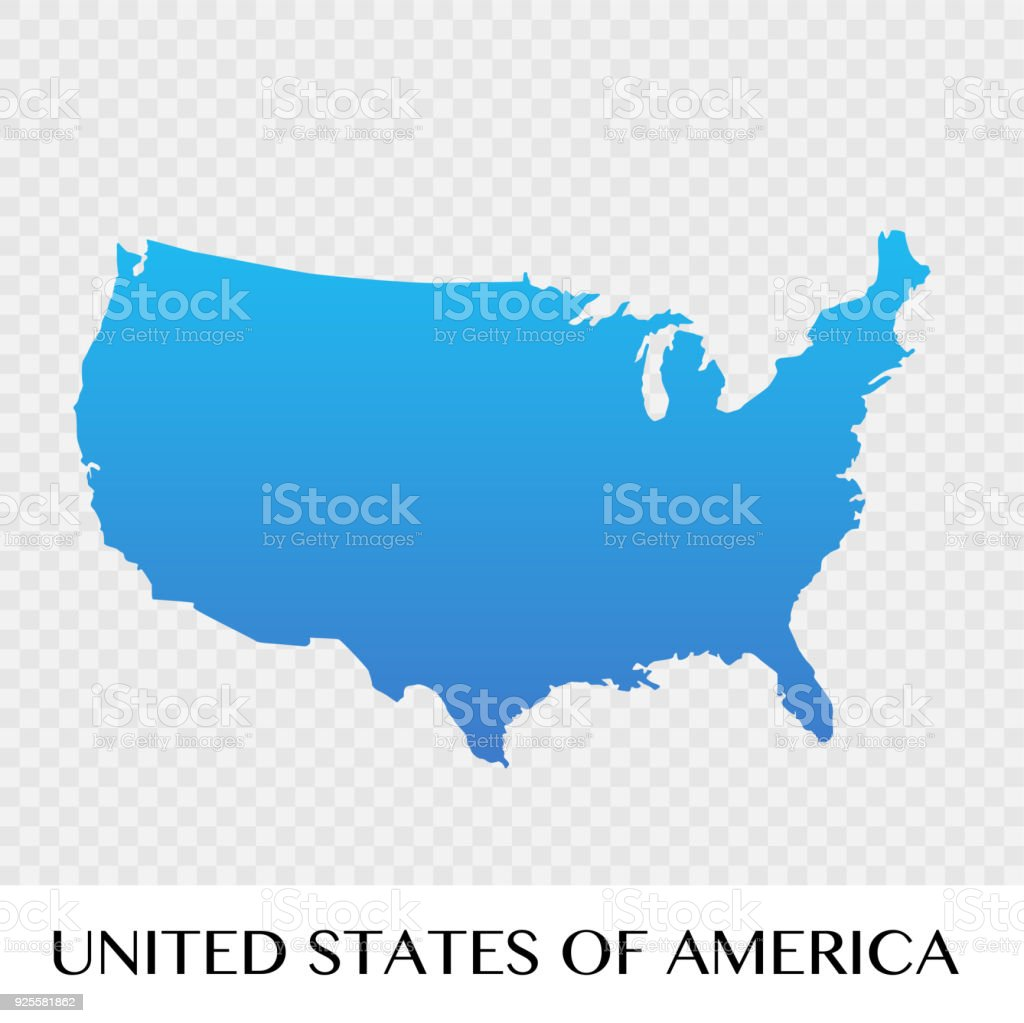 United States Of America Map In North America Continent Illustration
