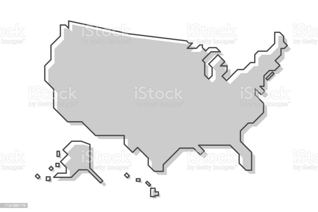 United States Of America Map Modern Simple Line Style Vector