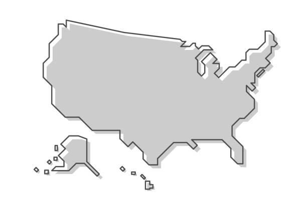 mapa stanów zjednoczonych ameryki . nowoczesny prosty styl linii . wektor. - prostota stock illustrations