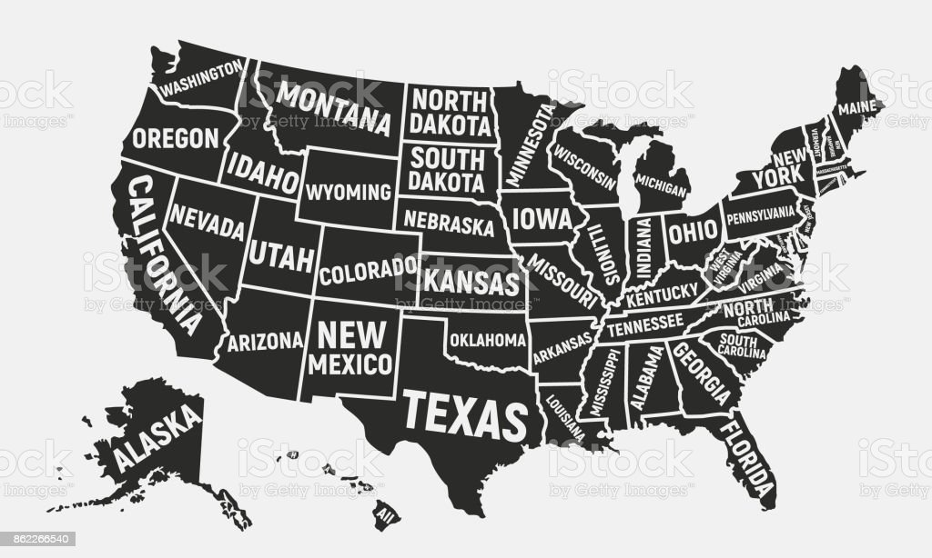 United States Of America Map Poster Map Of Usa With State Names ...