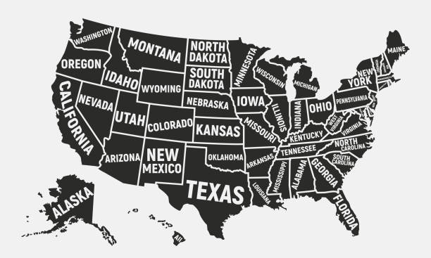 United States of America map. Poster map of USA with state names. American background. Vector illustration vector art illustration