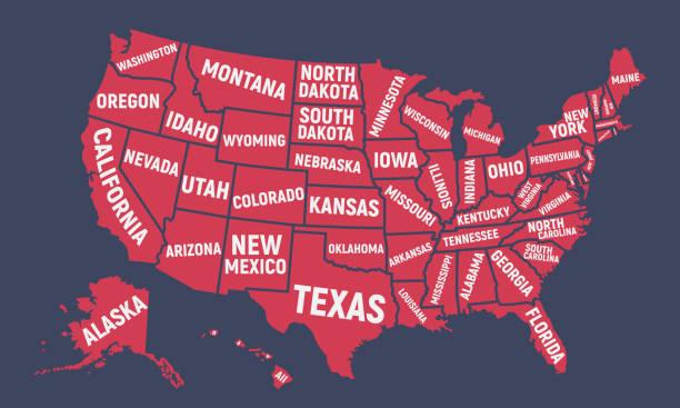 アメリカ合衆国の地図。状態名とアメリカのポスター マップ。アメリカの背景。ベクトル図 ベクターアートイラスト