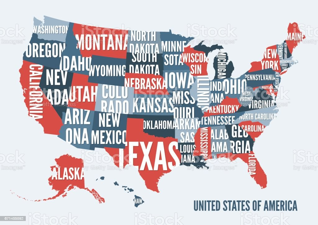 Florida Karte Drucken.Vereinigte Staaten Von Amerikakarte Drucken Posterdesign Stock