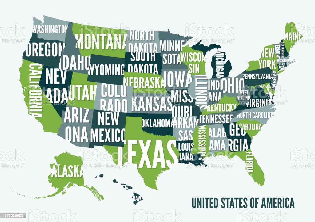 United  States of America map print poster design. vector art illustration