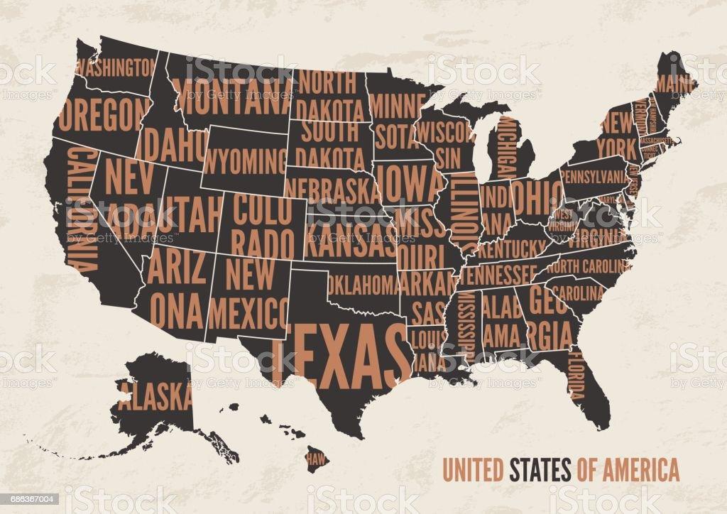 Florida Karte Drucken.Vereinigte Staaten Von Amerikakarte Drucken Plakatvintagedesign