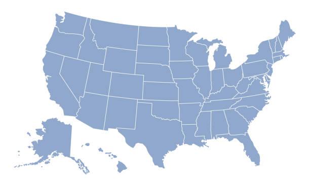 미국 지도. 미국 빈 지도 템플릿입니다. 미국 지도 배경 개요. 벡터 일러스트레이션 - 미국 stock illustrations
