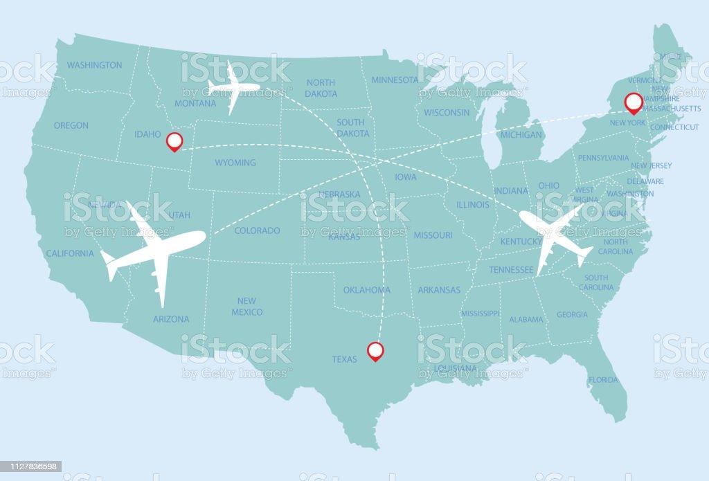 Amerika Karte Staaten.Vereinigte Staaten Von Amerika Karte Stock Vektor Art Und