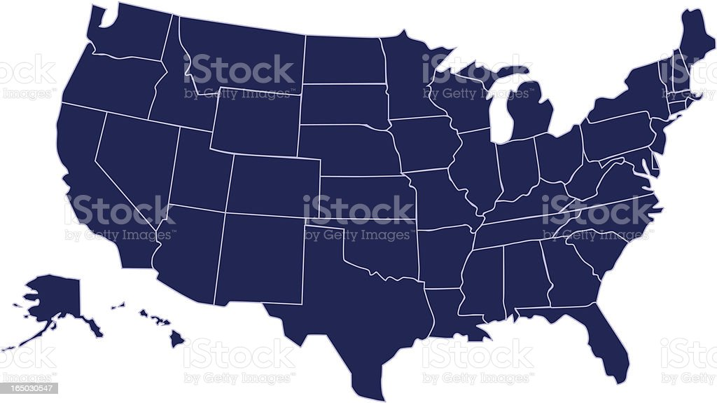 United States of America map royalty-free stock vector art