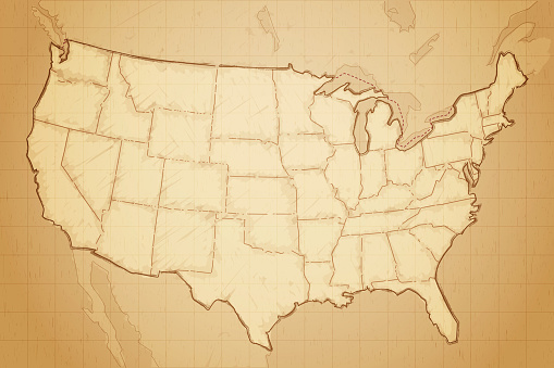 United states of America map drawn on aged paper vector illustration. Layered file.