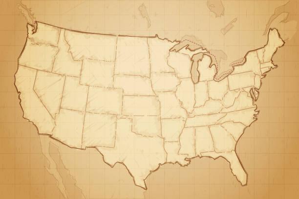 ilustraciones, imágenes clip art, dibujos animados e iconos de stock de mapa de estados unidos de américa - mapas vintage