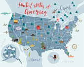 Illustrated map of United states of America with landscapes, nature and animals. Vector illustration