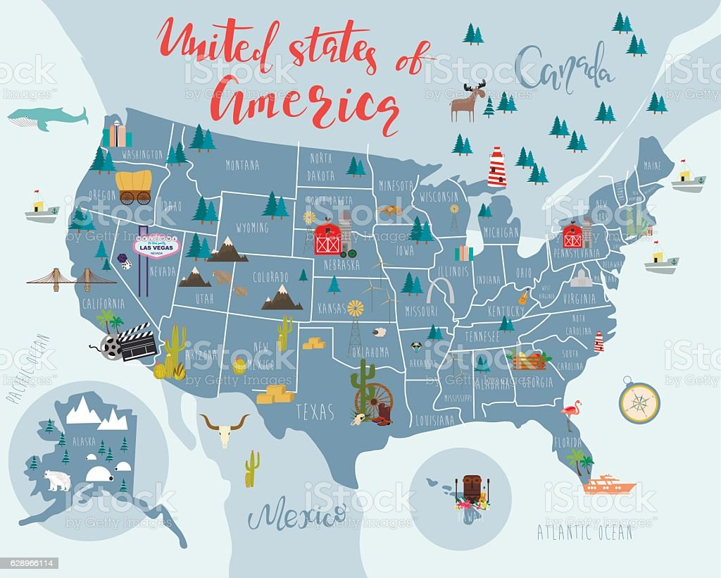 United states of America map vector art illustration