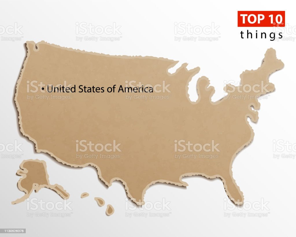 Map Of America 52 States.United States Of America Map Vector Usa Maps Craft Paper Texture