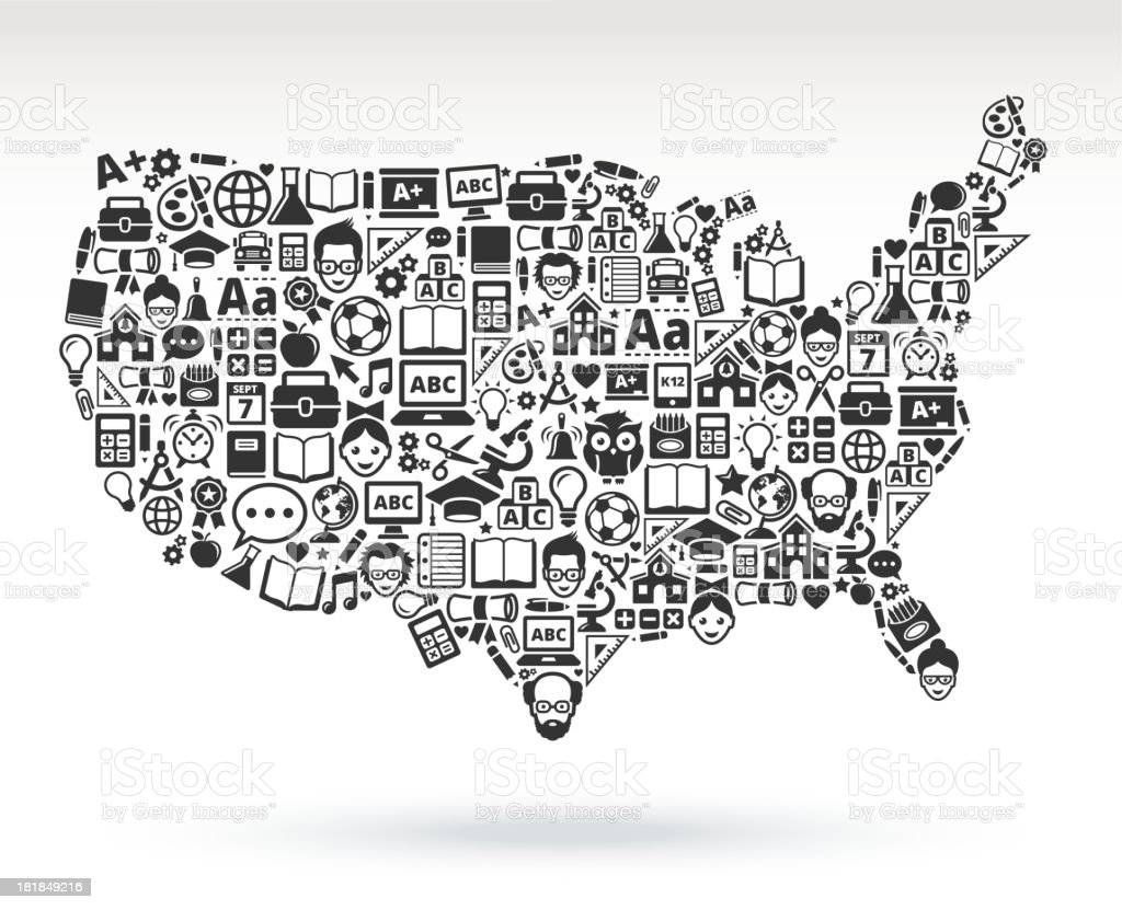 United States Of America Map With Educational Icons Stock Vector Art ...
