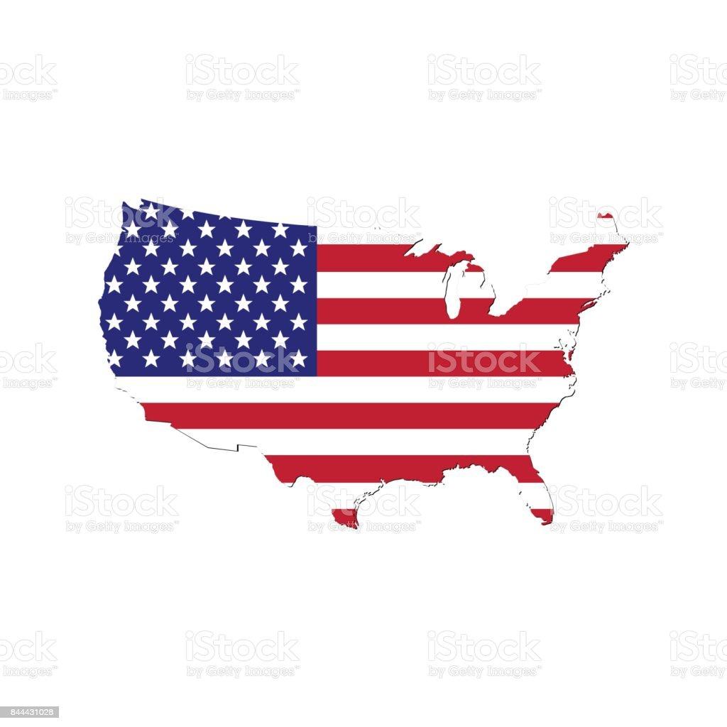 Mapa de Estados Unidos de América con la bandera. - ilustración de arte vectorial