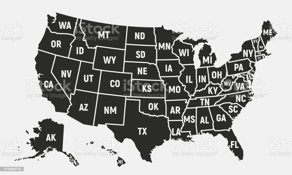United States Of America Map With Short State Names Usa Background ...