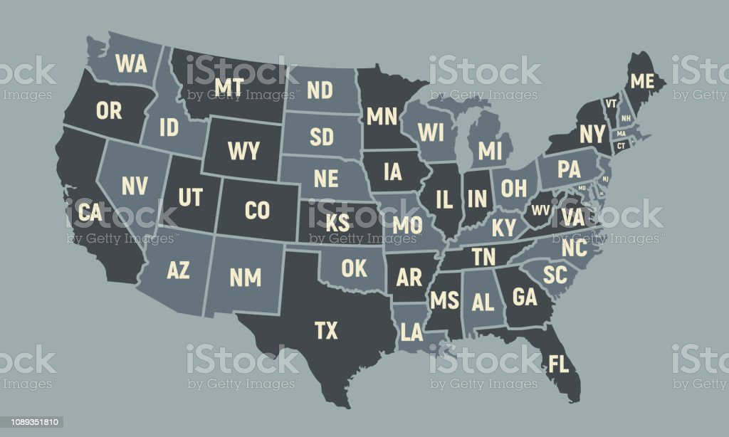 United States of America map with short state names. USA poster map. Vintage USA background. Vector illustration royalty-free united states of america map with short state names usa poster map vintage usa background vector illustration stock illustration - download image now