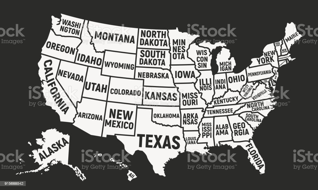 United States of America map with state names. USA background. Vector illustration vector art illustration