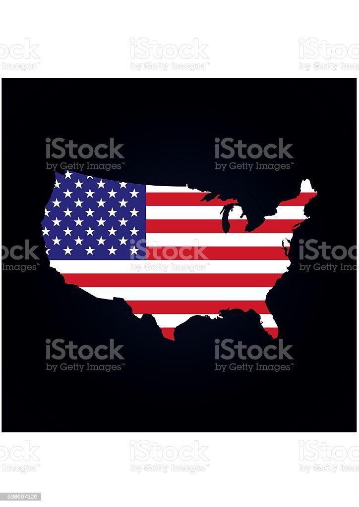 Vereinigte Staaten Von Amerika Karte Mit Der Flagge Im Vektor ...