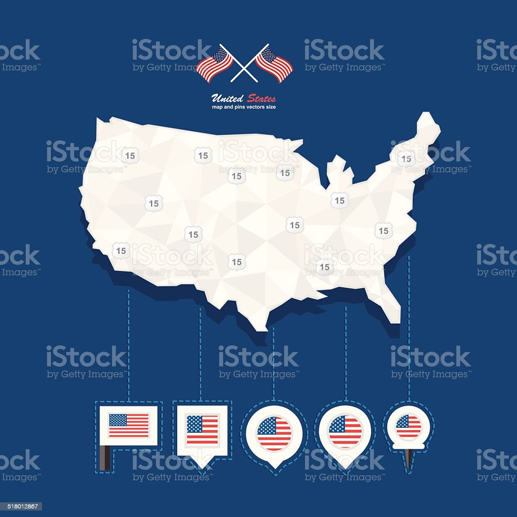 United States of America Mapa And Pins