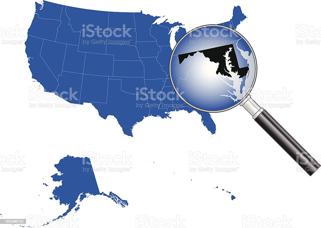 United States Of America Maryland Map Stock Vector Art - Map of us maryland