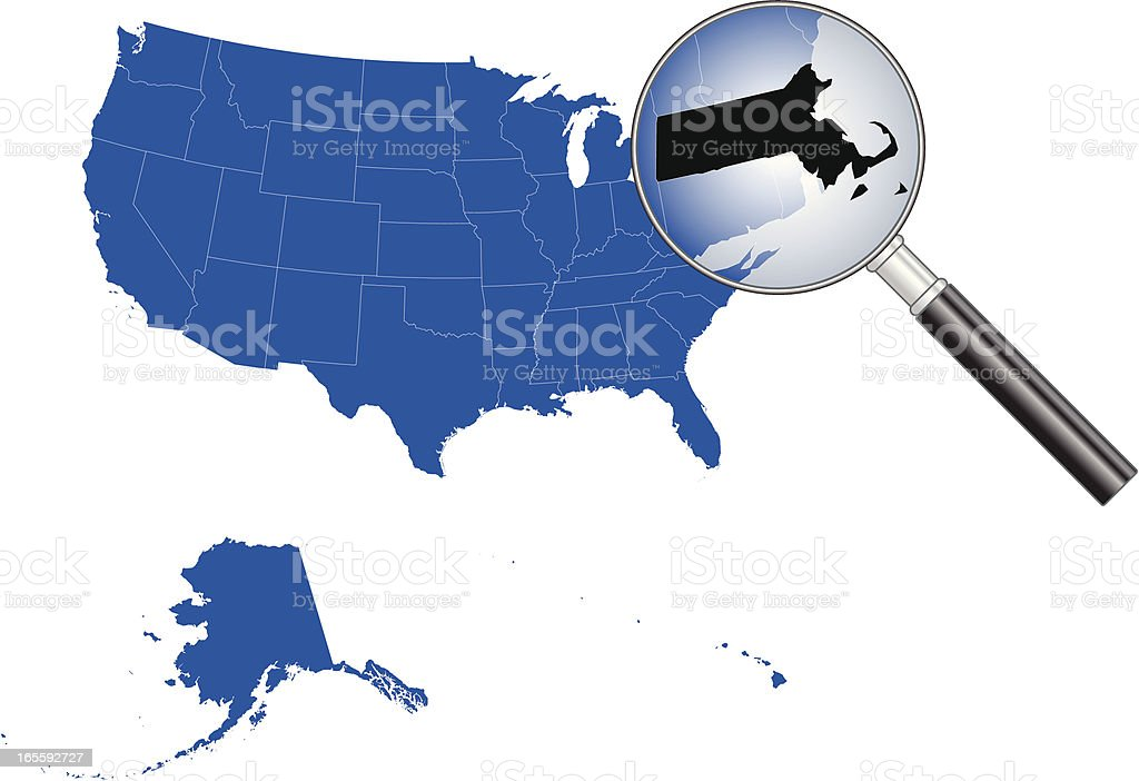 United States of America - Massachusetts Map royalty-free united states of america massachusetts map stock vector art & more images of backgrounds