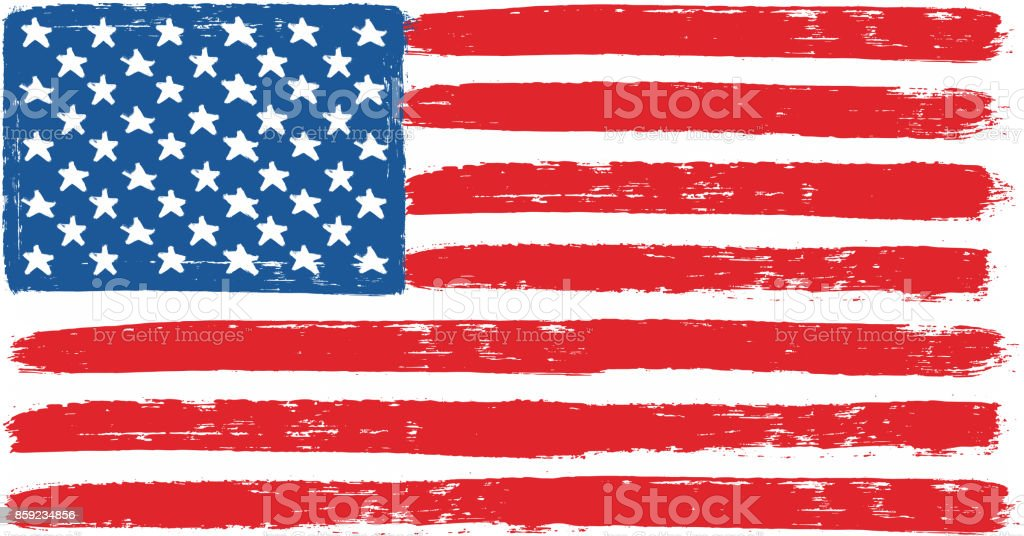 United States of America or USA Flag Vector Hand Painted with Rounded Brush