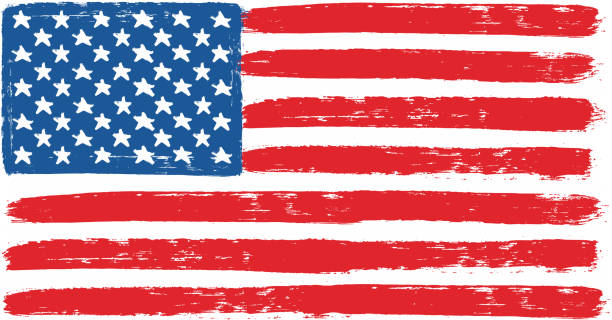 united states of america or usa flag vector hand painted with rounded brush - us flag stock illustrations