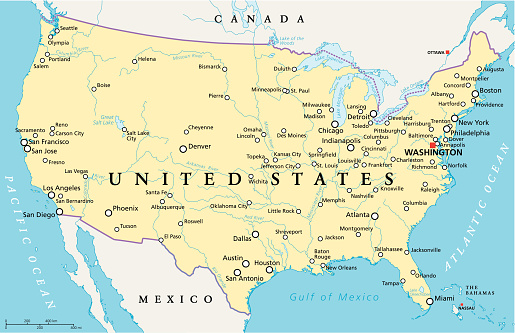 United States Of America Political Map Stock Illustration ... on map of america newark, map of america with washington dc, map of america carolina, map of america augusta,