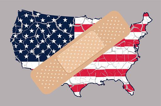 United States of America Politics Concept Shattered Cracked Grunge USA Flag Map