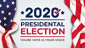 istock 2020 United States of America Presidential Election banner. Election banner Vote 2020 with American flag 1251050705