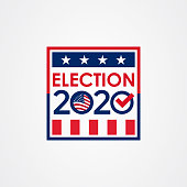istock 2020 United States of America presidential election vote banner. 1196641854