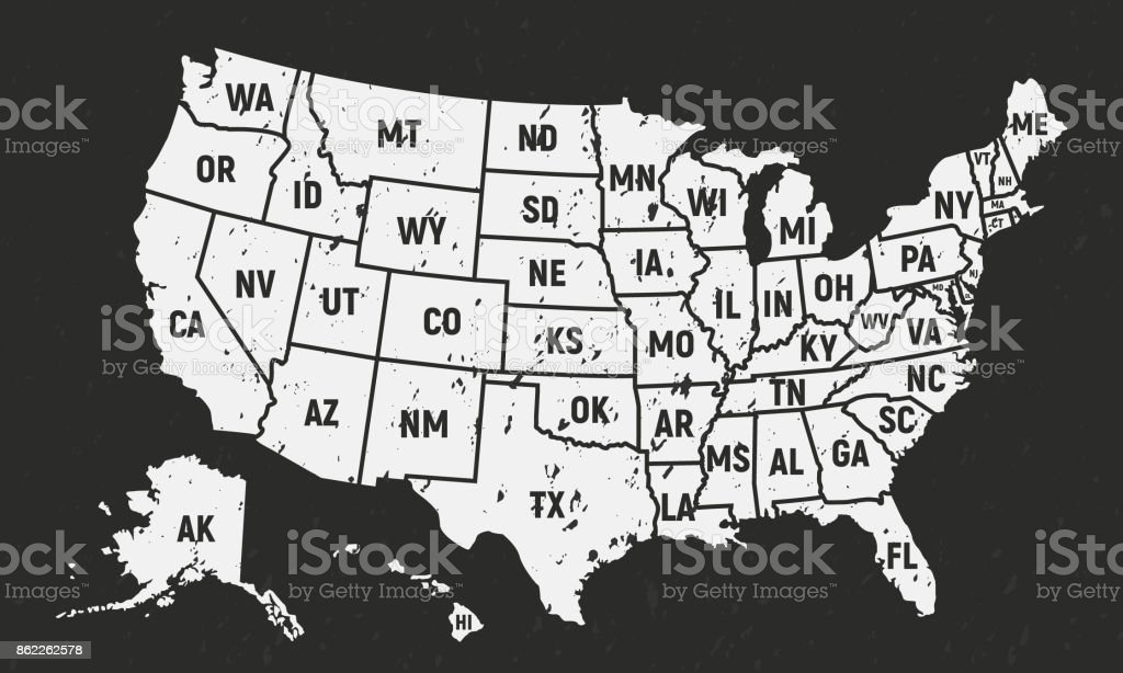 Poster Of Usa Map.United States Of America Retro Poster Map Usa Map With Short State