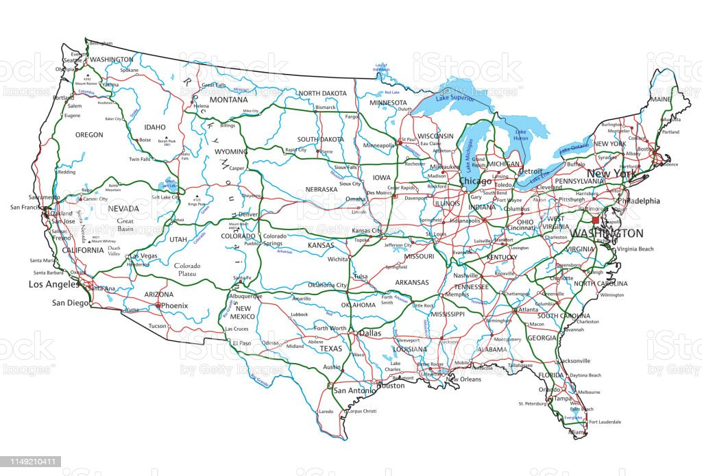 United States Of America Road And Highway Map Vector ...