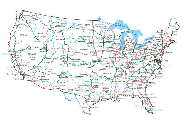 United States of America road and highway map. Vector illustration. United States of America road and highway map. Organized vector illustration on seprated layers. highway stock illustrations
