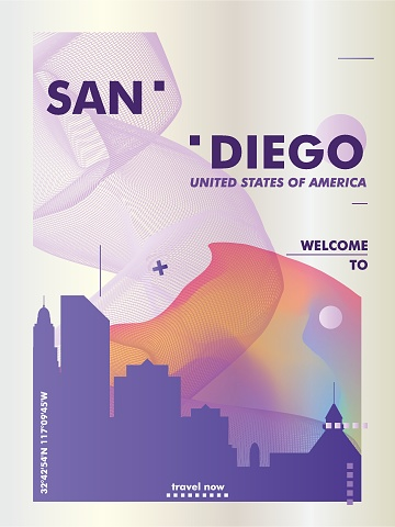 USA United States of America San Diego skyline city gradient vector poster