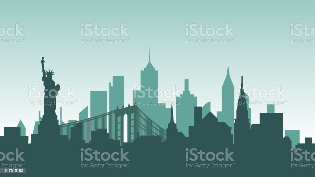 United States of America silhouette architecture buildings town city country travel vector art illustration