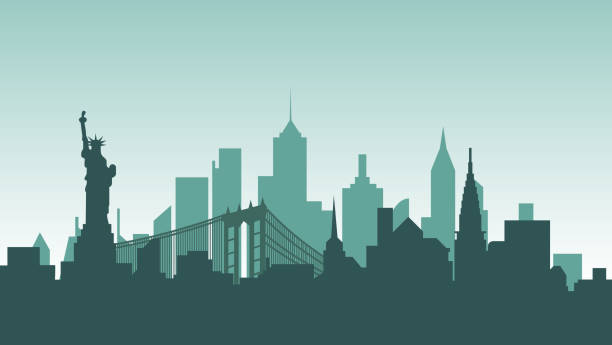 ilustrações de stock, clip art, desenhos animados e ícones de united states of america silhouette architecture buildings town city country travel - skyline