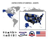 United States of America USA assets, map, flag, icons, banners and labels