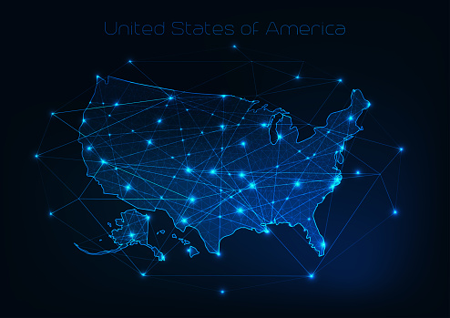 United States of America USA map outline with stars and lines abstract framework.