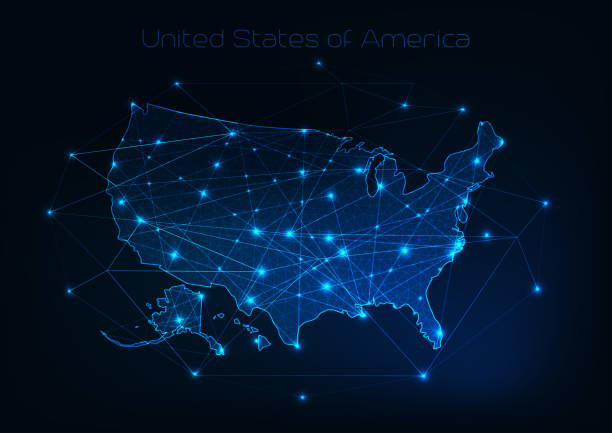ilustrações de stock, clip art, desenhos animados e ícones de united states of america usa map outline with stars and lines abstract framework. - europe points