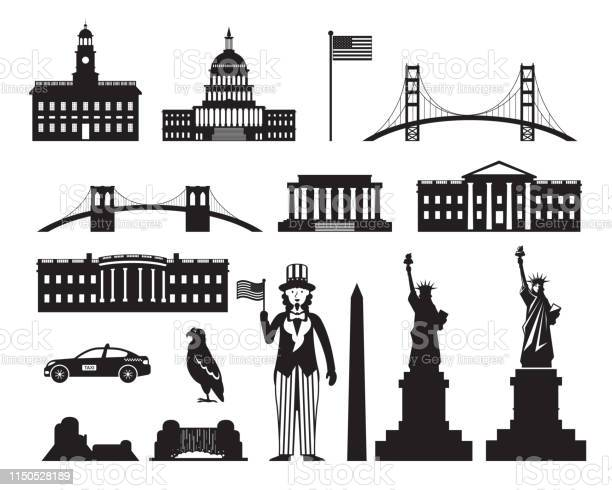 United states of america usa objects silhouette vector id1150528189?b=1&k=6&m=1150528189&s=612x612&h=1pgu6wtydn9m1u5uwpcfjh36eypdkvzxqyqmcc9ncn0=