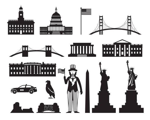 United States of America, USA, Objects Silhouette Landmarks, Travel and Tourist Attraction white house stock illustrations