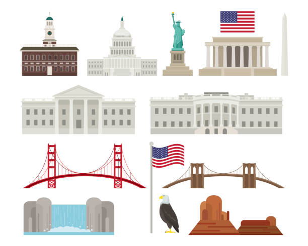 United States of America, USA, Objects Landmarks, Travel and Tourist Attraction white house stock illustrations