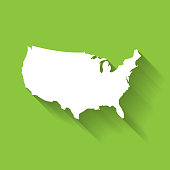United States of America, USA, white map silhouette with gradient long shadow effect isolated on green background. Simple flat vector illustration.