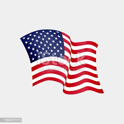istock United States of America waving flag. Vector illustration. US waving flag. Stars and Stripes fluttering. Old Glory in the wind 1150472174