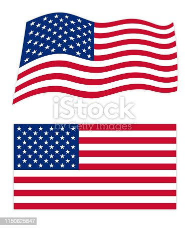istock United States Of America Wavy And Flat Flags 1150625847