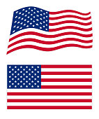 United States Of America  wavy flag with a flat flag